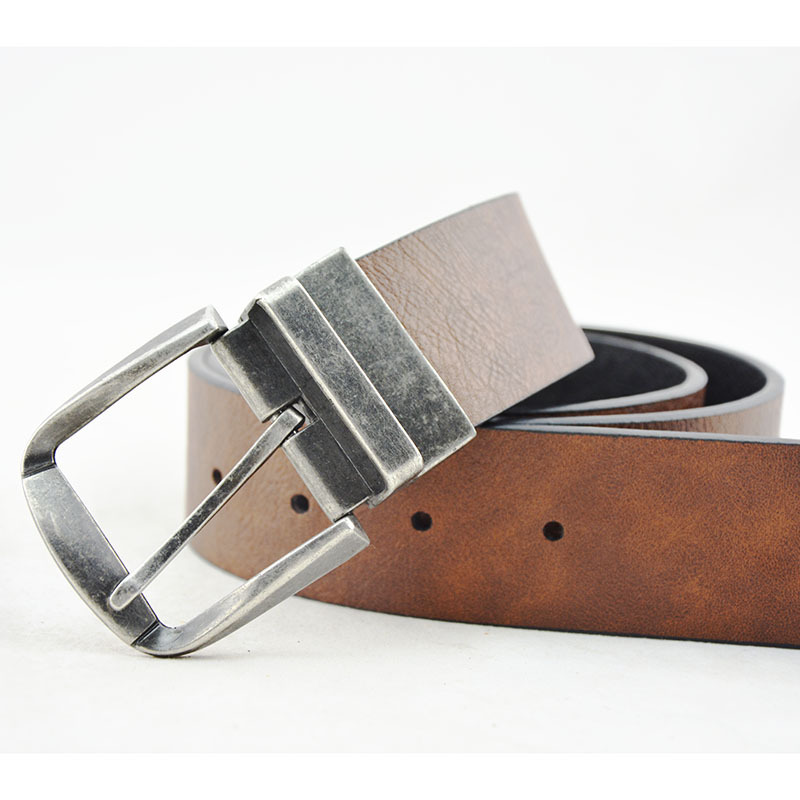 LCY new product split leather strap unique mens reversible belt  mens waistband rotatable ceinture homme pin buckle