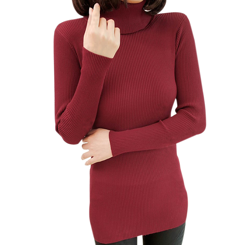Winter Slim Knitted Turtleneck Long Sweater Womens Sweaters And Pullovers Fashion 2015 Autumn Warm Jumpers Pull Femme