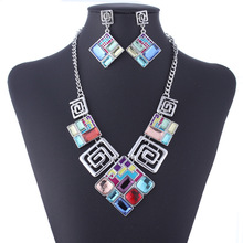 New fashion vintage colored gemstone geometric square diamond necklace earring jewelry sets free shipping for woman
