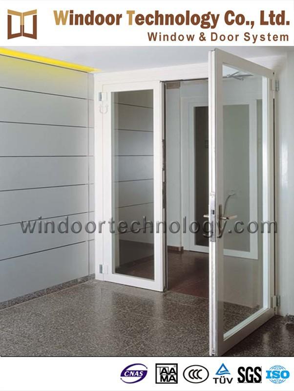 2 hoja de doble puerta de aluminio de cristal franc s de