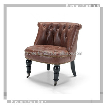 Living Room French Vintage Leather Bouji Tub Chair With Casters