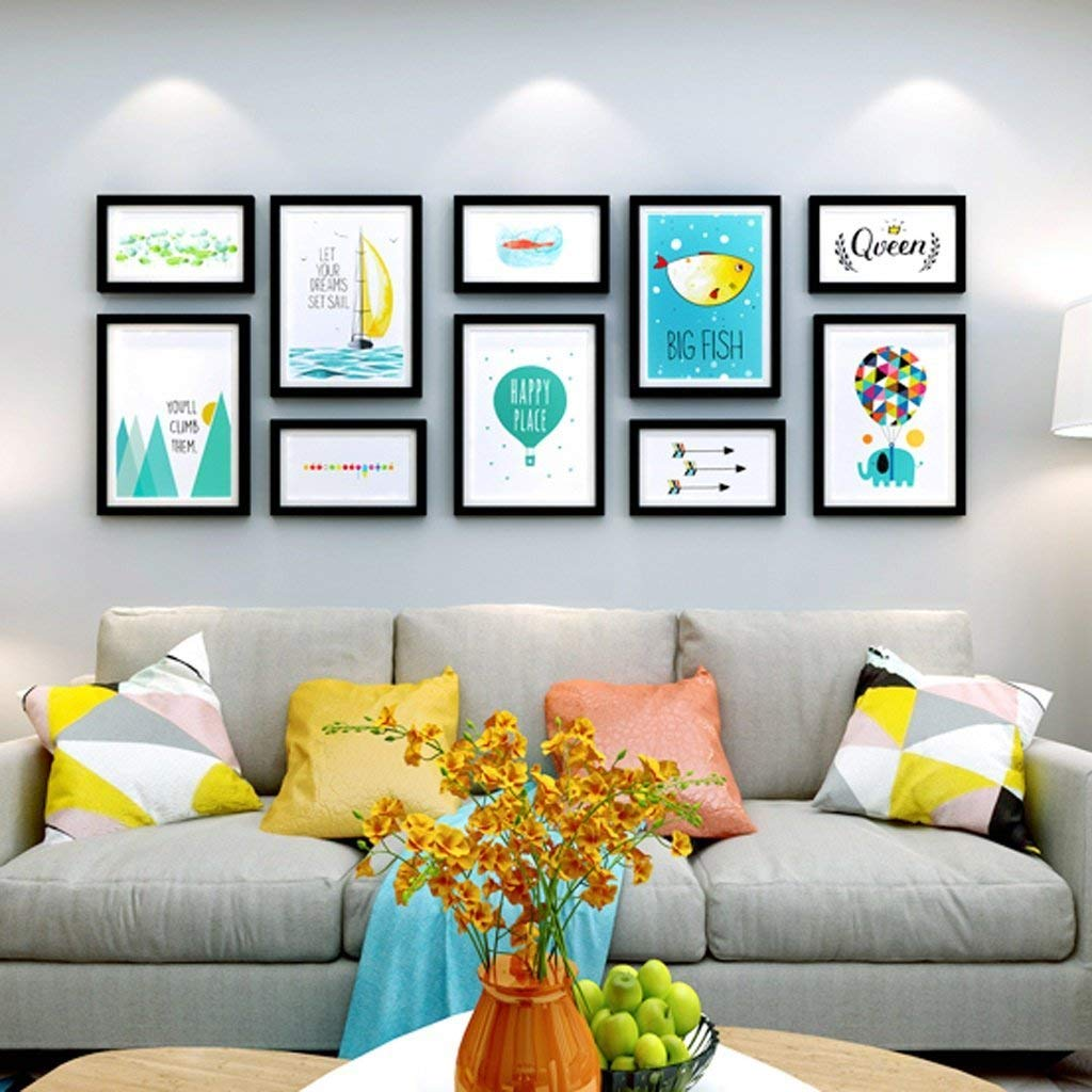 KTYX Simple Modern Living Room Photo Wall Decoration Photo Frame Wall European Photo Frame Creative Hanging Wall Combination Photo Wall Art picture frame (Color : Black photo frame)