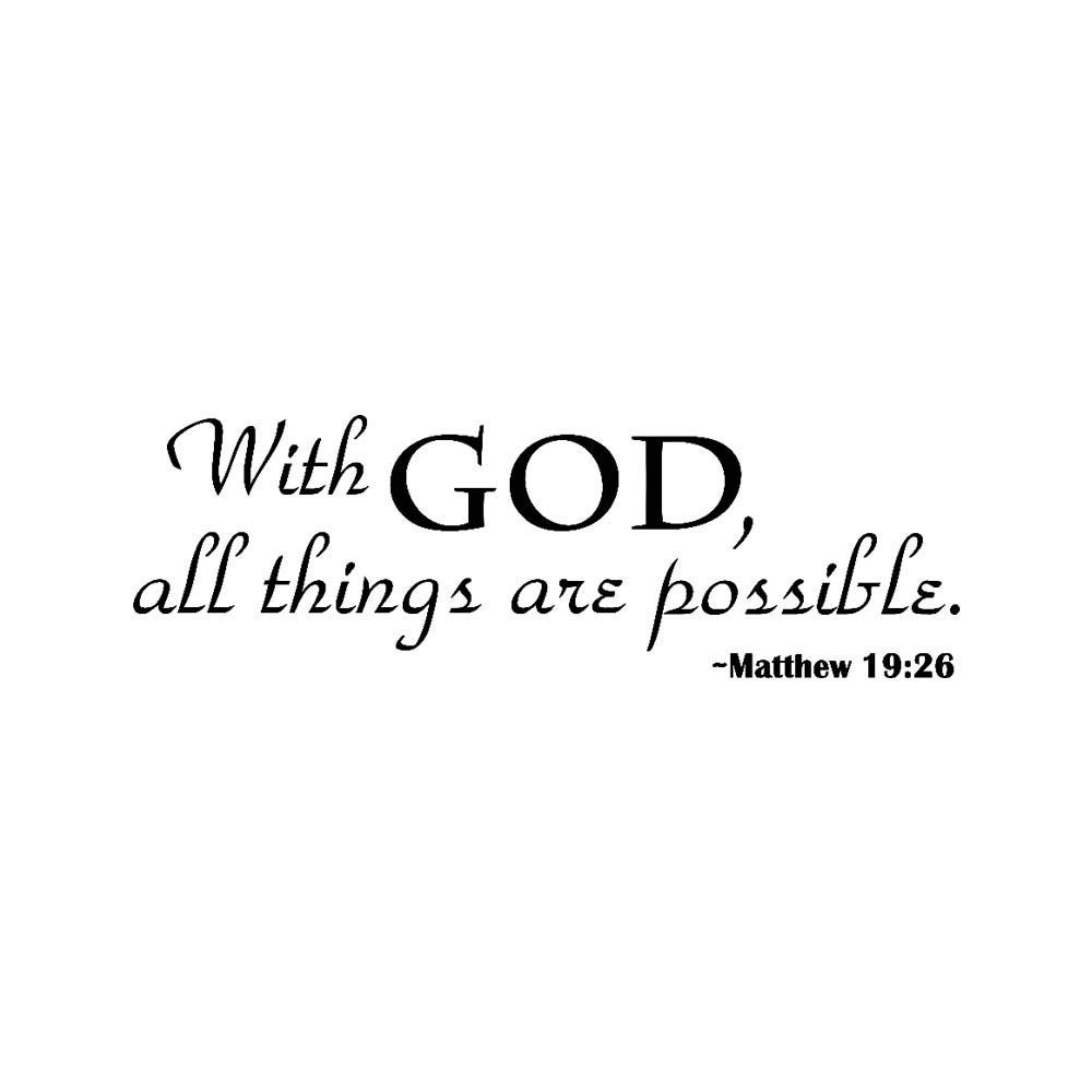 Rumas DIY Wall Murals for Family Kids Room - Removable Wall Sticker Quotes Inspirational - with God All Things are Possible (Black)