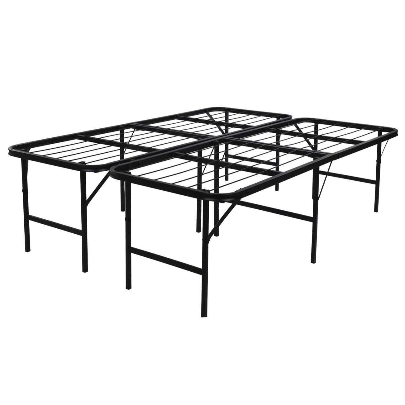 "Platform Bed Frame Steel Heavy Duty Queen Size Foldable Bedroom Storage - 17"""