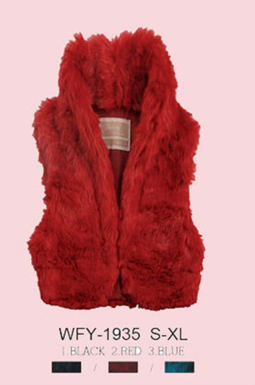 2012 red color lady cheap faux fur waistcoat jacket