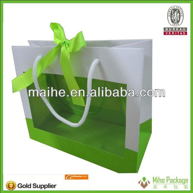 paper pag with window/paper packaging bag/paper bag manufacturer