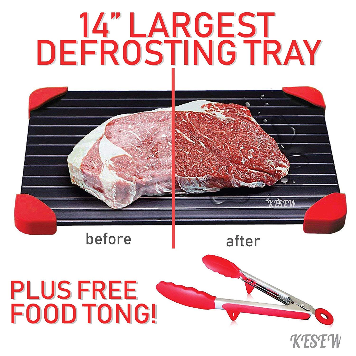Defrosting Tray Set - LARGEST Defrosting Tray With Silicone Rubber Legs Plus Bonus Silicone Food Tong - Fastest, Safest & Easiest Way to Thaw Frozen Meats & Food - No Electricity or Water (Red)