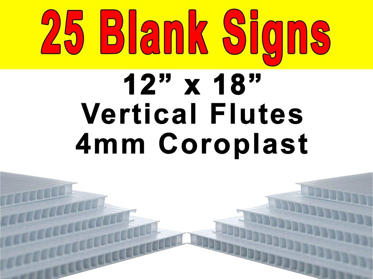 """Vibe Ink Pack of 25 Sheets Corrugated Plastic 4MM WHITE Blank Yard Signs 18"""" x 12"""" Short-Flute"""