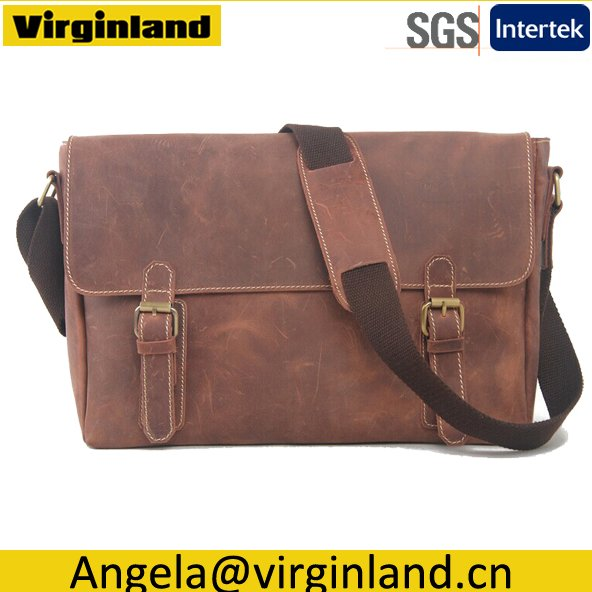 509-1 High Grade Personalized Brown Genuine Leather Men's Bag fit 15 inch Laptop