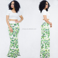 K2013A 2017 Hot Selling Sexy Tops And Skirts Sets Summer Printed Long Beach Maxi Skirts Suits