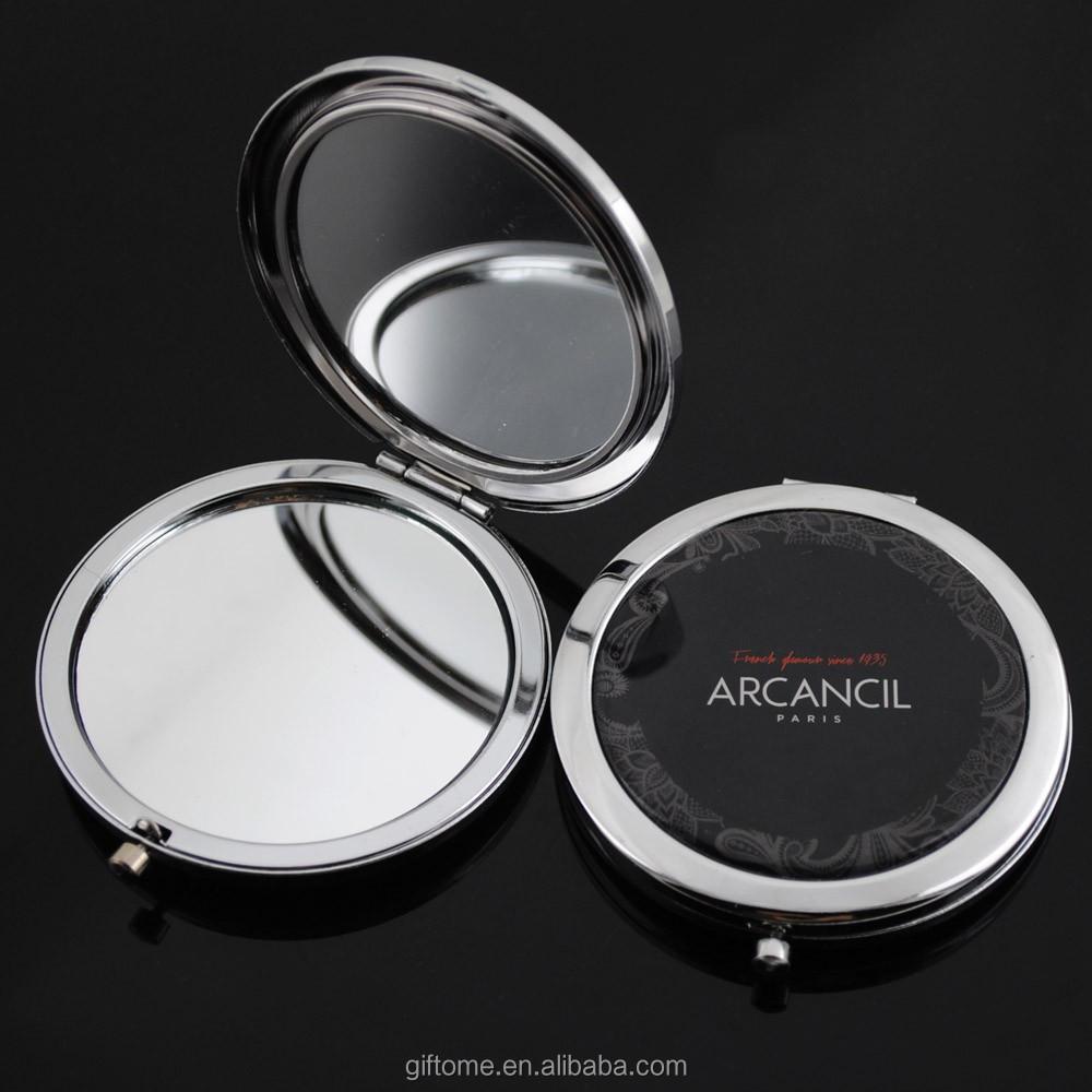 Custom metal compact mirror / cosmetic mirror / pocket mirror with epoxy sticker, N/a