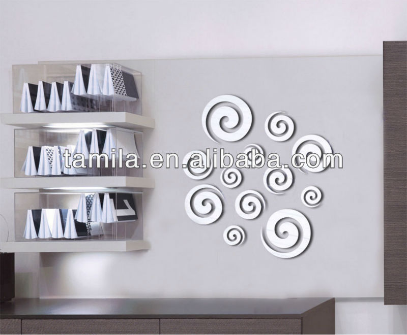 eco friendly custom design removable self adhesive decorative acrylic wall mirror sticker