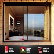 two tracks non thermal break aluminum double glazed sliding window