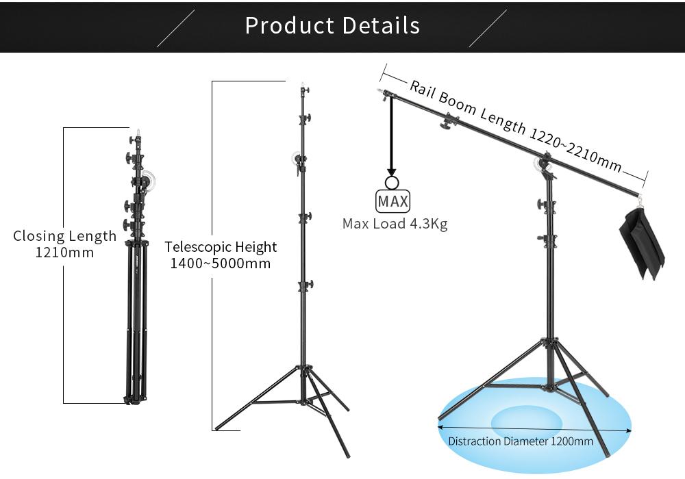 JINBEI 16.4ft/500 cm M-3 Xoay Nhôm Ánh Sáng Đứng 1/4-3/8 inch Adapter/360 Độ Xoay Đa Chức Năng railboom