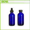 4 oz Cobalt Blue Empty Glass Boston Round Bottle For Extract, Dye, Liquild