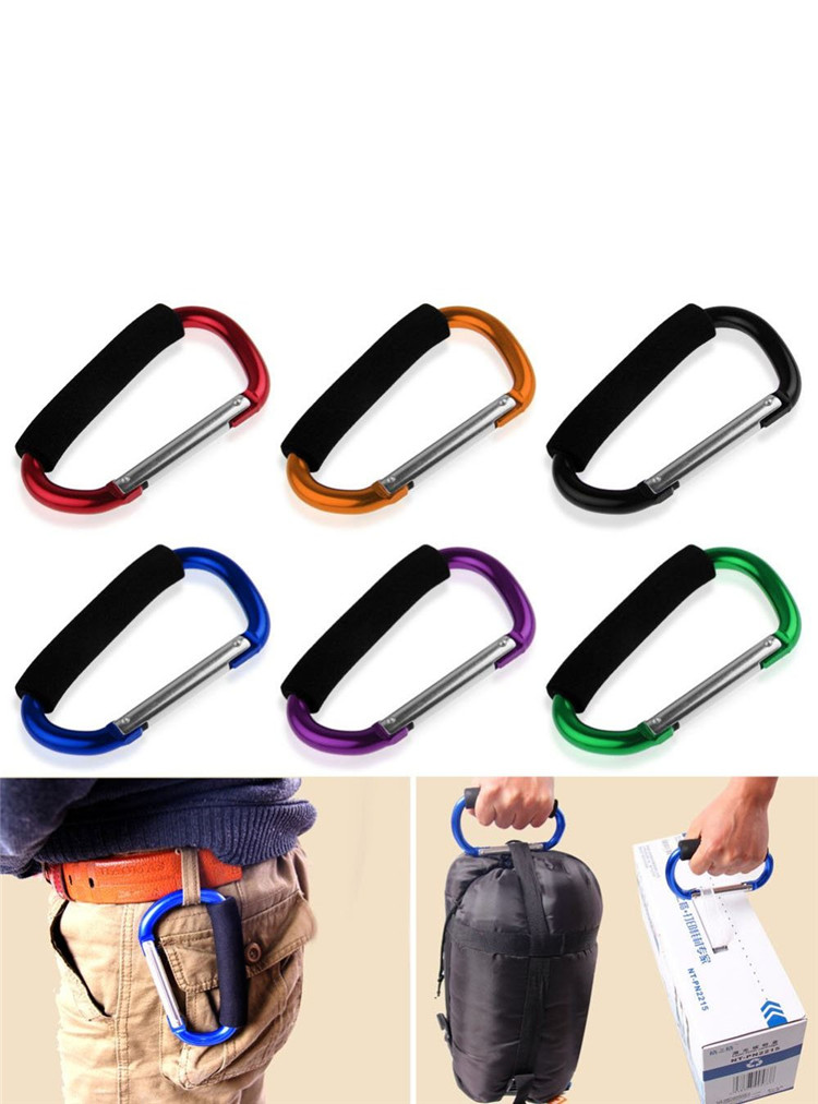 Multi Purpose Large Carabiner Snap hook Clip with Sponge Handle for Shopping Bag and Baby Pushchair