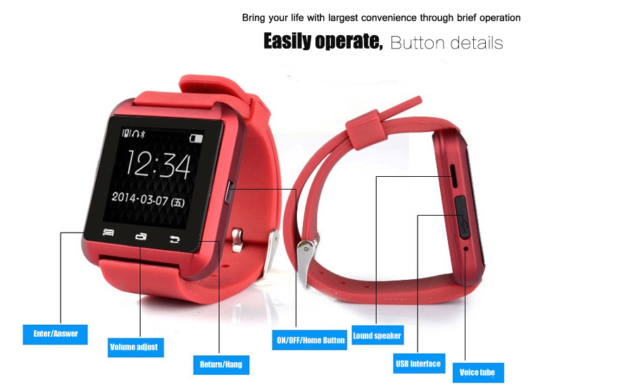 2018 fashion sport u8 smart watch BT smart watch with factory cheap price