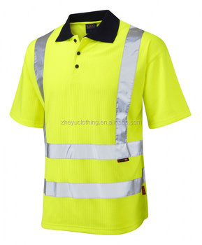 100%Polyester Breathable Reflective Hi Vis Polo TShirt
