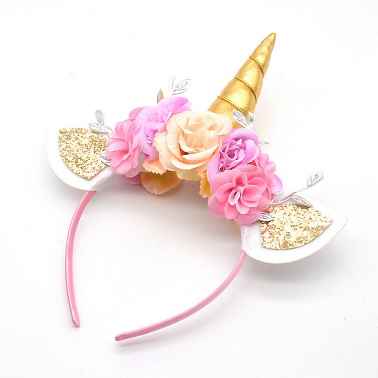 China Wholesale Gold Glitter Party Favor Supplies Blink Flower Crown Hair Accessories Clip Band Unicorn Tiara Baby Girl Headband