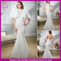 SD1353 high neck halter mermaid wedding dress lace 2 in 1 wedding dresses with beautiful jacket