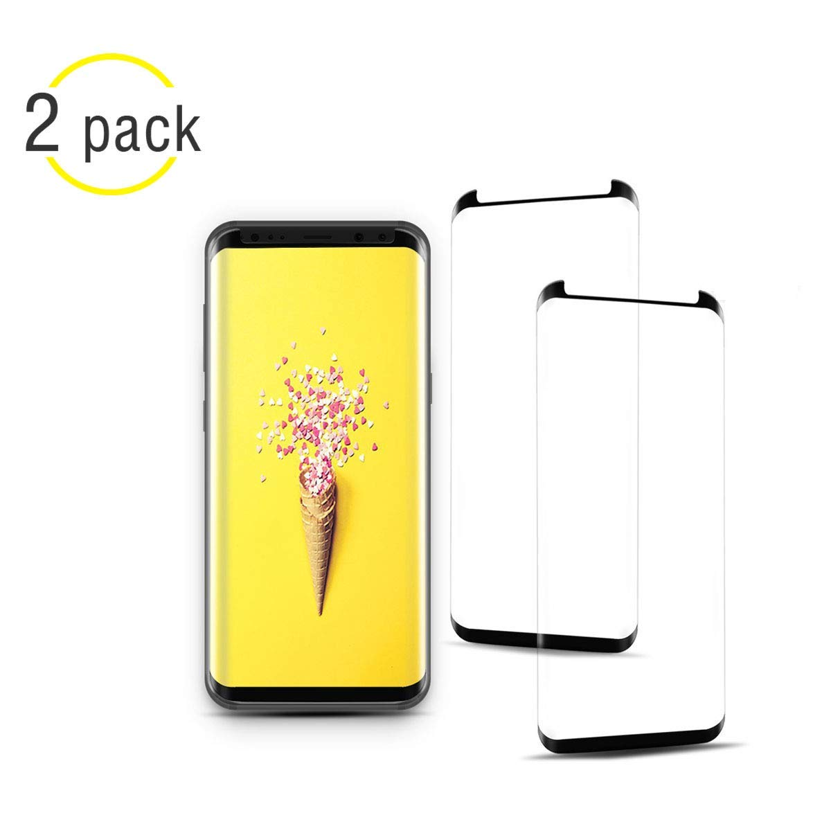 [2 Pack] NiceFuse Galaxy S9 Screen Protector, 3D Full Screen Coverage Glass [Curved] [Bubble-Free] [9H Hardness] [Anti-Scratch] Galaxy S9 Tempered Glass Screen Protectors Compatible Samsung Galaxy S9