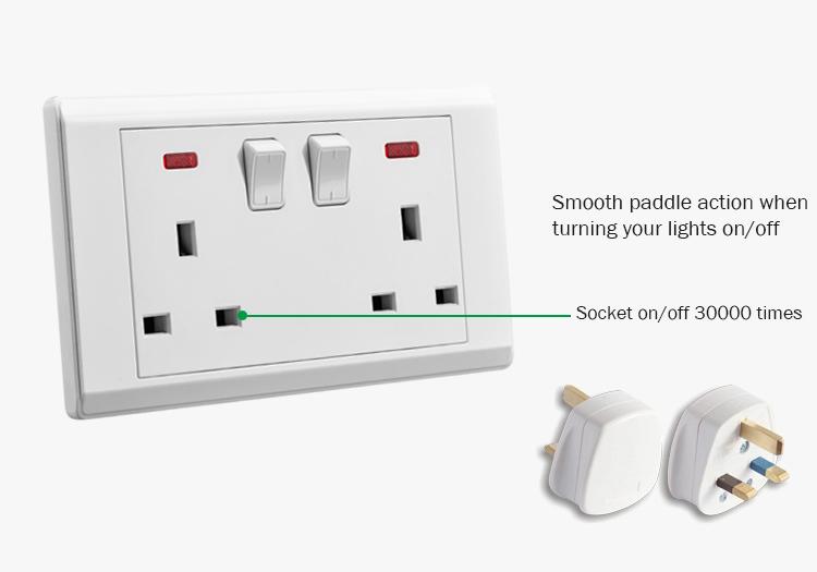 Vgt Pabrik Langsung 13A Wall Switch dan Soket 3 Pin Standar Inggris