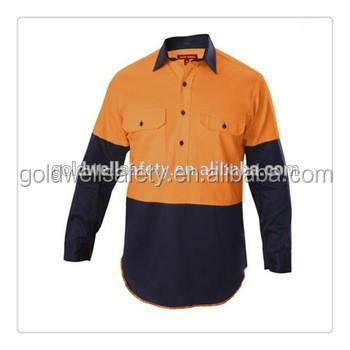 100%cotton workwear shirt and pants, with button closure, work cloth