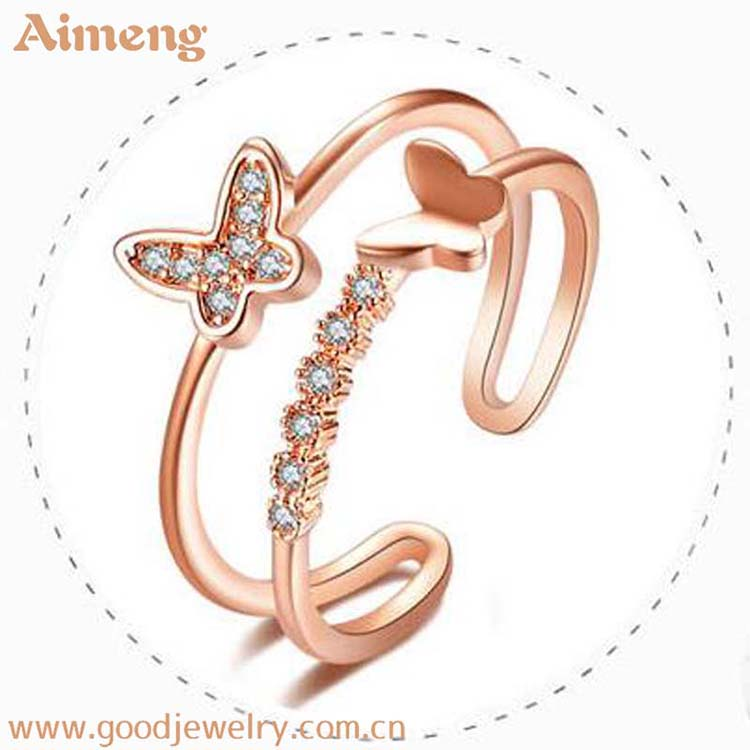 Korean butterfly open finger ring zircon gold crystal rings natural stone women jewelry