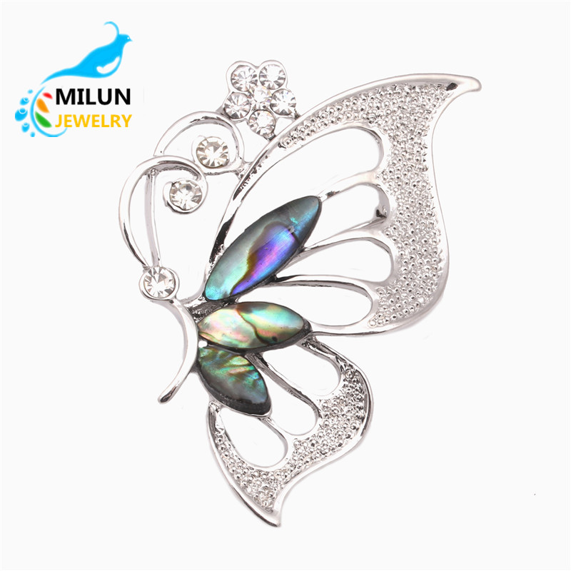 Wholesale Custom women new design alloy brooch shell butterfly brooch
