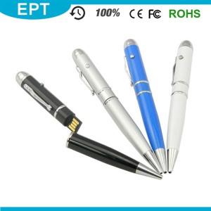 Promotional Engraving Logo Laser Pointer Ball Pen Sha USB Flash Drive