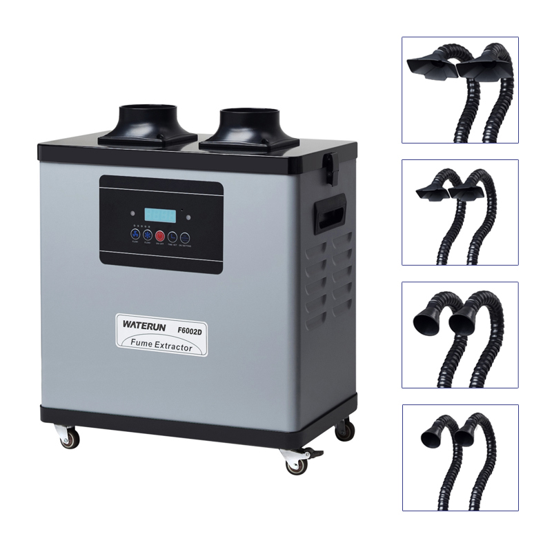 Digital Display 200W, F6002D Popular Soldering Welding Fume Extractor for soldering station with double Arms