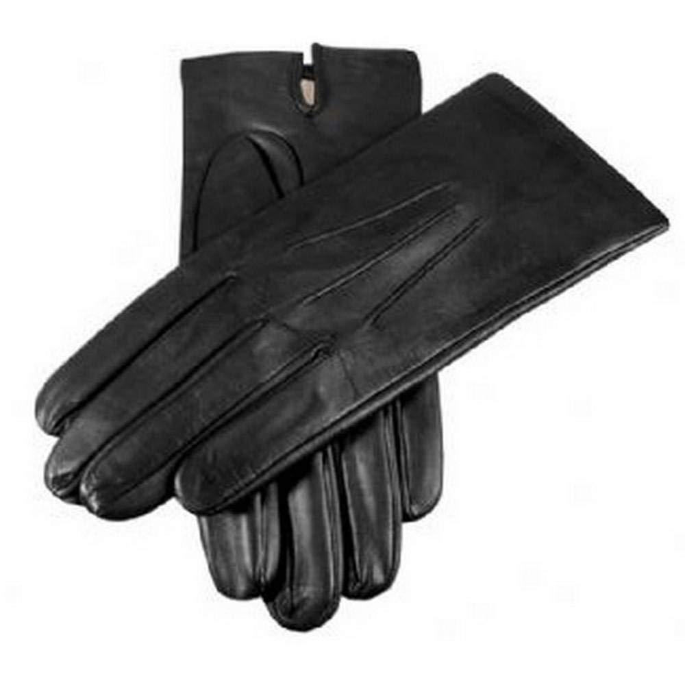 Dents Mens Plain Silk Lined Leather Gloves - Black