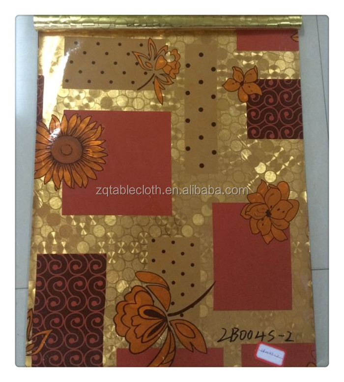 Embossed gold/silver pvc tablecloth with printing