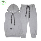 Eco-Friendly material sleeveless hoodie set plain cotton football tracksuit for men