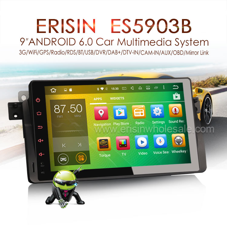 Erisin Es5903b 9'' New Android 6 0 Touch Screen Car Dvd Player With Gps  Navigation For Bmw 3er E46 With Radio Bluetooth Usb - Buy 9'' New Android  6 0