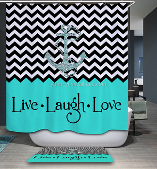 A Ships Anchor In The Wave Stripe And With Words Live Laugh Love Desig Shower Curtain