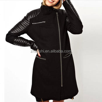 500f988405d13c Newest Design Wool Cashmere Zipper Front Women Long Coat Turkey with Leather  Sleeve