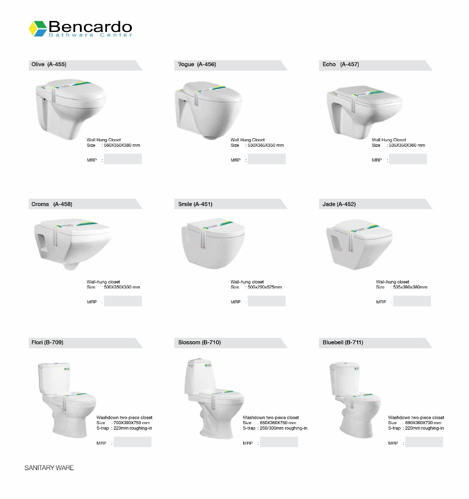 Sanitary Ware - Wall Hung Closet - Wall Hung Toilet - Ceramic Toilet - Bencardo - Sofia - A - 462