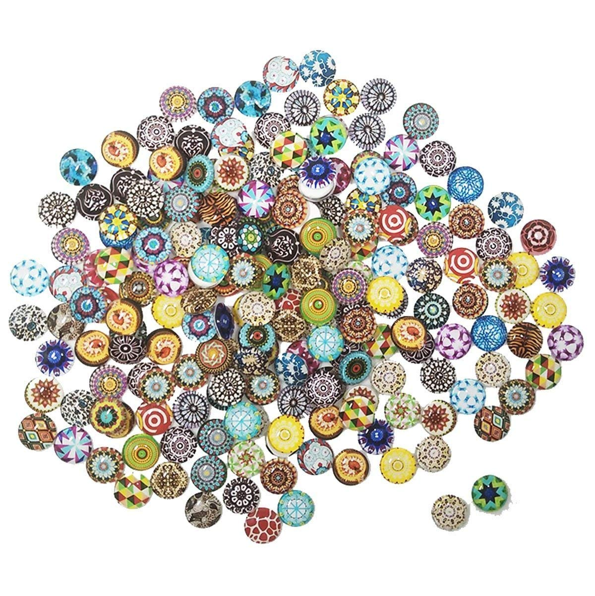 Get Quotations Misscrafts Mosaic Supplies 200pcs Printed Gl Half Round Cabochons Mixed Color Tiles 12mm For