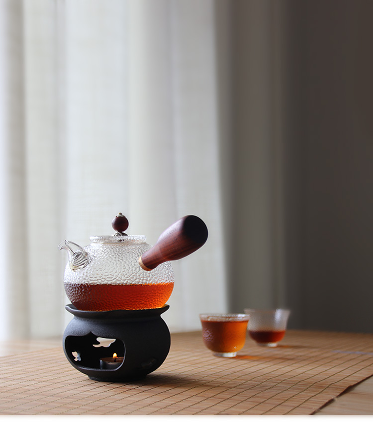 400ml Handmade Heat Resistant Borosilicate Glass Teapot With Wood Handle and Glass Teapot With Stainless Steel Infuser
