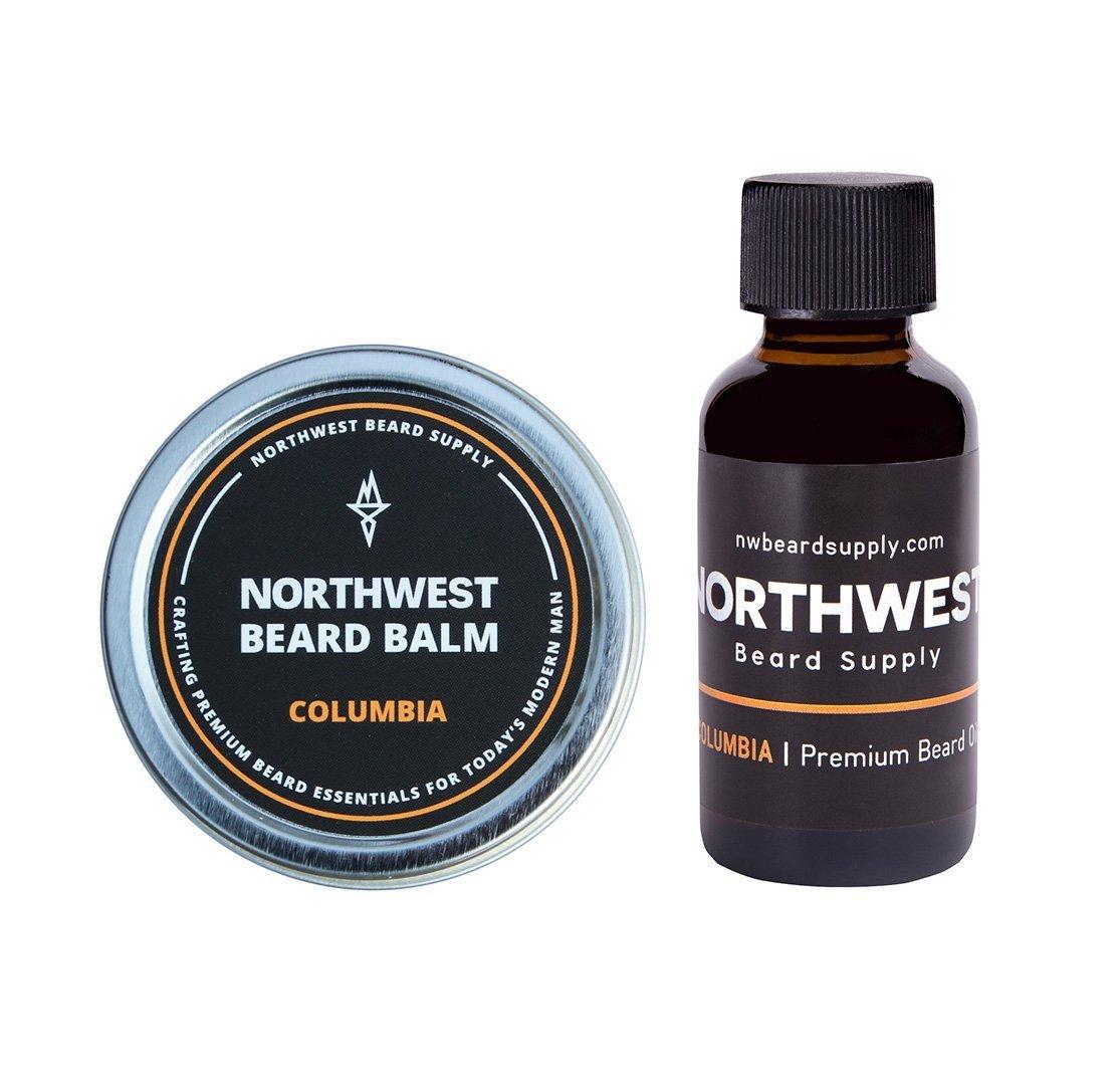 Columbia Beard Bundle (1oz beard oil & 2oz balm) – Fresh citrus medley & cedar wood scent (with essential oils), shea butter, coconut oil, and bees wax.