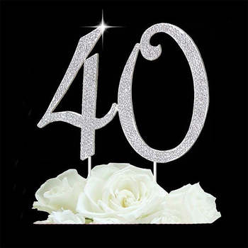 Pleasant Sliver Metal Rhinestone Number Cake Topper 40Th Birthday Cake Funny Birthday Cards Online Alyptdamsfinfo