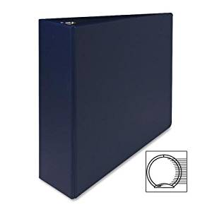 "03601 Sparco Round Ring Binder - 3"" Binder Capacity - Letter - 8.50"" Width x 11"" Length Sheet Size - 3 x Round Ring Fastener - 2 Pockets - Vinyl - Dark Blue - 1 Each"