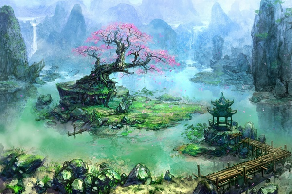 Painting Artwork Fantasy Art Trees <font><b>Asian</b></font> Architecture Bonsai Waterfall River Pier 4 Sizes <font><b>Home</b></font> <font><b>Decoration</b></font> Canvas Poster Print