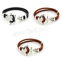 jewelry Cowhide, leather, anchor Bracelets, with Zinc Alloy&nautical pattern