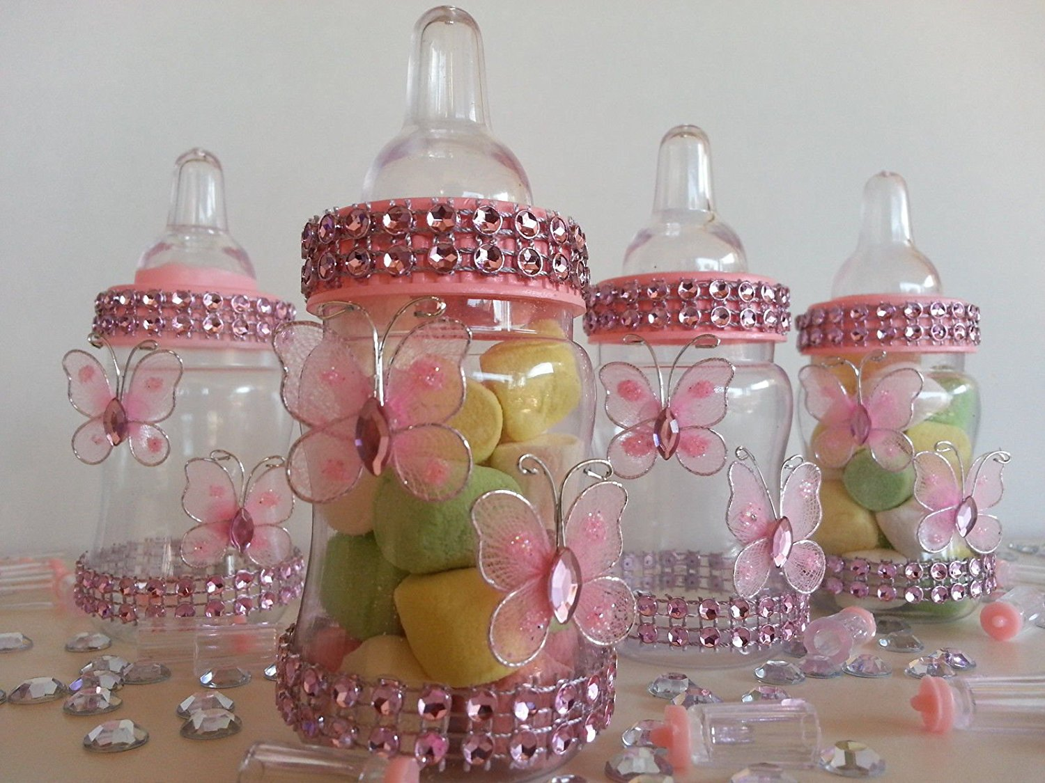25ab9f790 Get Quotations · 12 Fillable Butterfly Bottles Favors Prizes or Games Baby  Shower Twin Decoration