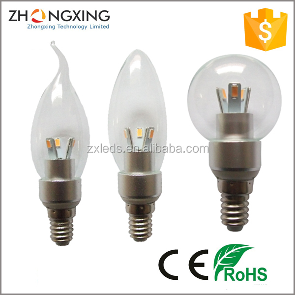 Mini LED Candle Bulb Plastic Products 30W Halogen Replacement 200lm 100V Decorative 3W LED E14 Candle