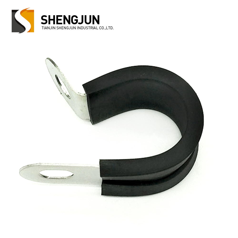 Customized 22mm cable fixing stainless steel black rubber lined p clip
