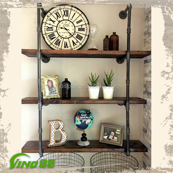 Vintage Wall Mounted Wooden Stand Iron Shelving Display Shelves Wood Rack Rustic