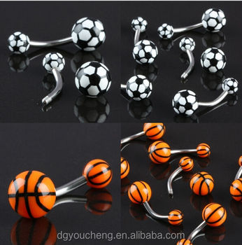Acrylic Stainless Steel Basketball Piercing Belly Button Rings Buy Basketball Piercing Basketball Navel Belly Ring Basketball Belly Button Rings